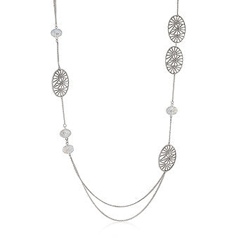 Silvertone Filigree Textured Charm Necklace