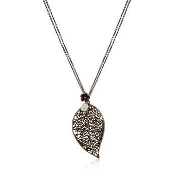 Vintage Leaf Charm Necklace