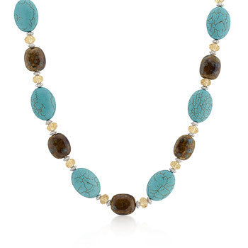 Acrylic Turquoise and Brown Beaded Necklace