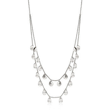 Layered Silver Medallion Necklace