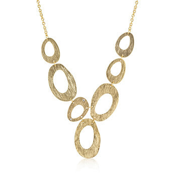 Large Textured Organic Necklace in Goldtone