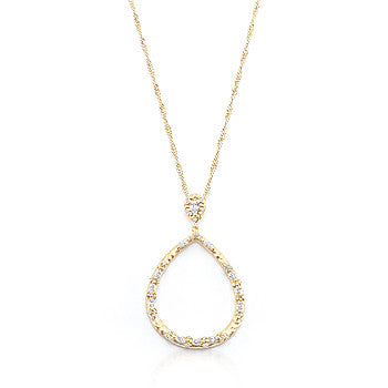 Golden Organic CZ Drop Necklace