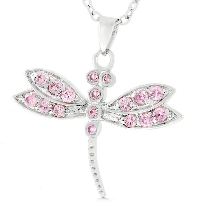 Pink Chopper - Magnificient .925 Sterling Silver Dragonfly Pendant with Pink Ice CZ in Silvertone