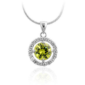 Peridot - Beautiful Peridot Centerpiece Pendant with Clear CZ Accents in a Prong Setting