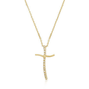 Golden Cross CZ Pendant On Link Chain