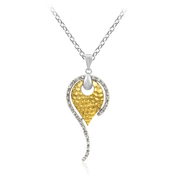 Golden Tear - Fine 14k Gold Bonded Pendant with Small Round Cut Clear CZ Set in Tutone