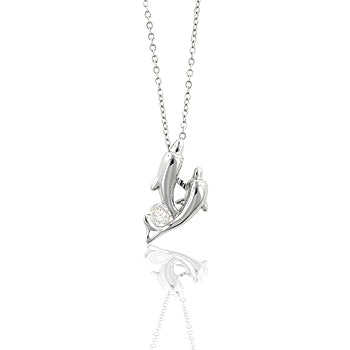 Dolphins in Heaven - Playful White Gold Dual Dolphin Pendant with Round Cut CZ