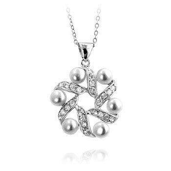 Cubic Zirconia and Pearl Wreath Pendant