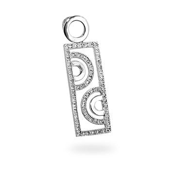Cosmopolitan - Chic White Gold  Bonded Geometric Pendant Embelished With CZ