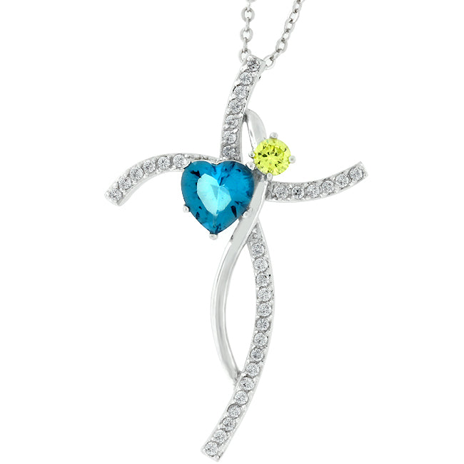 Dancing Duo - Charming White Gold Pendant With A Heart Cut Aqua CZ And Round Cut Yellow CZ