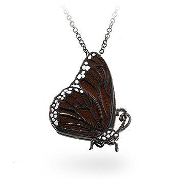 Dark Orange CZ Butterfly Pendant