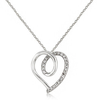 Looped Heart CZ Pendant