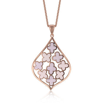 Enamel Tear Drop Pendant (Rose Goldtone)