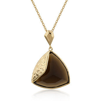 Multi-Faceted Trillion Smokey Topaz CZ Pendant