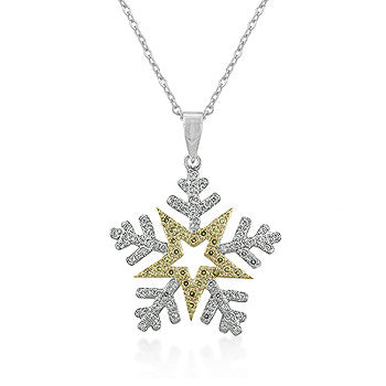 Two-Toned Snowflake Pendant