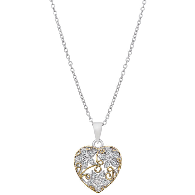 Embelished Heart - Elegant White Gold Rhodium and 14k Gold Bonded Floral Heart Pendant