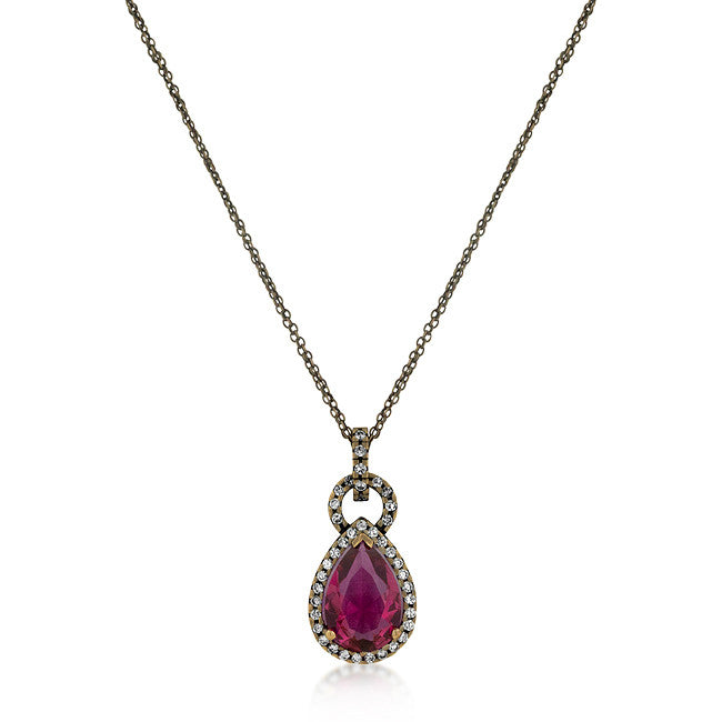 Antique Bronze Fuchsia CZ Pendant