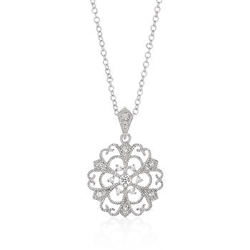 Filigree Hearts Around A Circle Pendant
