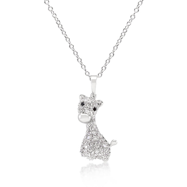 Adorable - Beautiful Giraffe Pendant With White & Black Cubic Zirconias