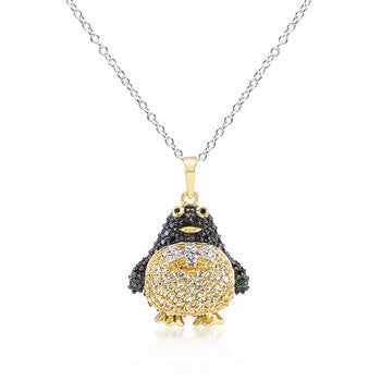Jet Black CZ Penguin Pendant Necklace