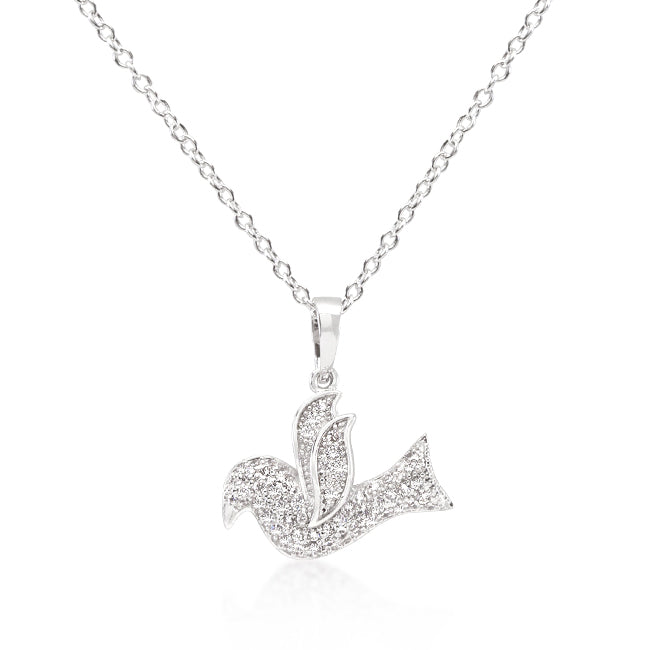 Dove - White Gold Rhodium Bonded Pendant with Clear Cubic Zirconia in a Pave Setting