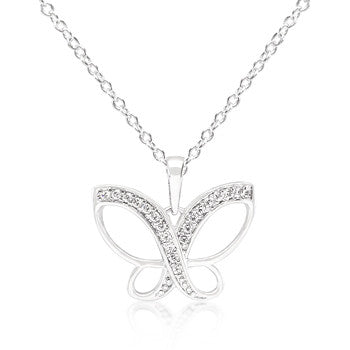 Dainty Butterfly CZ Pendant Necklace