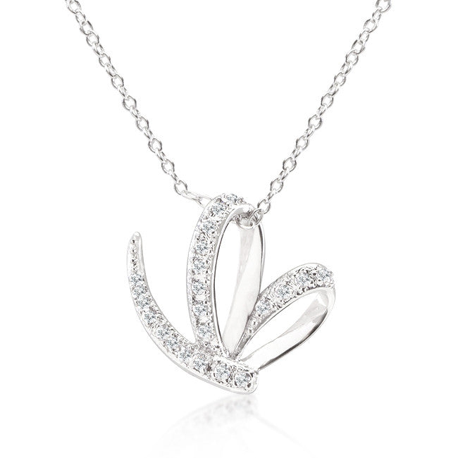 Angel's Touch - White Gold Bonded Pendant With Cubic Zirconia In Pave Setting