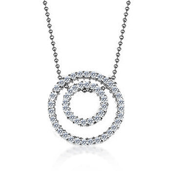 Double Diamond - White Gold Rhodium Bonded Cubic Zirconia Circle Pendant