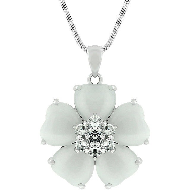 Autumn Flower - Classic White Gold Bonded Floral Pendant With CZ Center