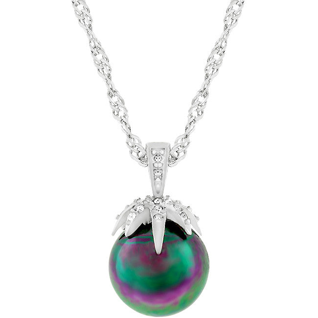 Magic Sphere - Stylish Pendant With a Pave Set Clear CZ Leaf Grasping a Tahitian Pearl