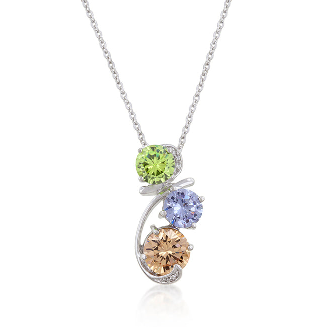 Modern Art - Resplendent Triple Solitaire Pendant with Round Cut Green and Lavender and Champagne CZ