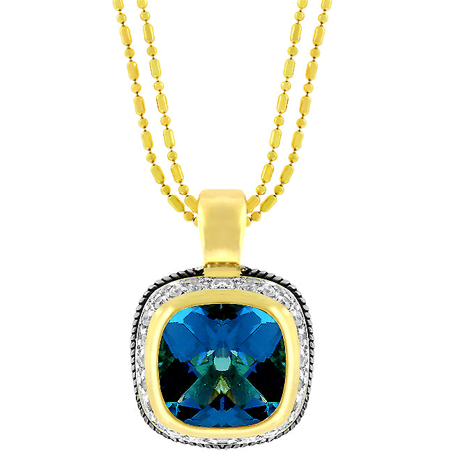 Blue Stone - Decorative 14 K Gold Bonded Pendant With Blue Topaz CZ