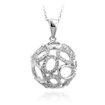 Crystal Globe - Heavenly White Gold Globe Pendant With Fused Pave & Shiny Circles