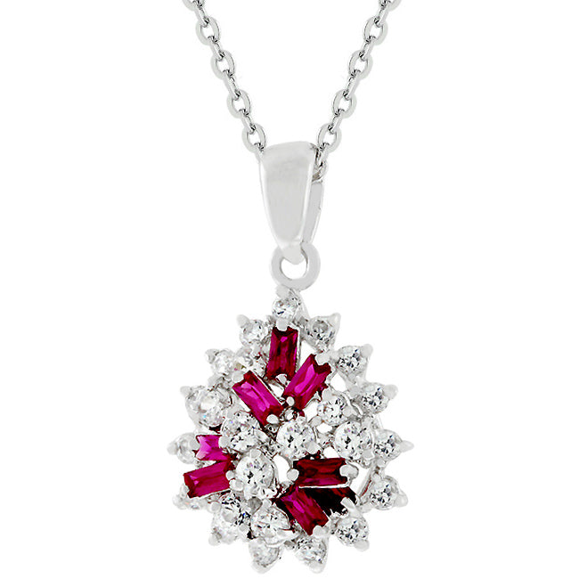 Coral Beauty - Exotic White Gold Bonded Cluster Pendant With Clear CZ & Ruby