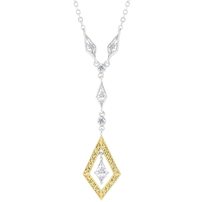 Chained Diamonds - Lavish 14k Gold Bonded Necklace with Round Cut Clear CZ Accents