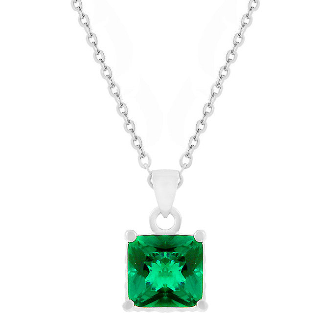 Emerald - Beautiful White Gold Bonded Reversible Pendant with Princess Cut Emerald CZ