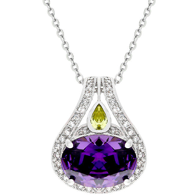 Royal Purple - Superb White Gold Rhodium Bonded Tear Drop Pendant with Faceted Amethyst CZ