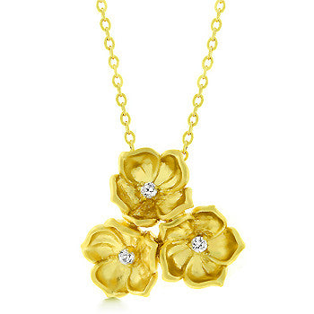 Matte Gold Three Flower Pendant