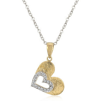 Brushed Gold Hearts Pendant