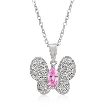 Pink and White CZ Butterfly Pendant