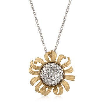 Crystal Sunflower - Charming Gold And White Gold Bonded Flower Pendant
