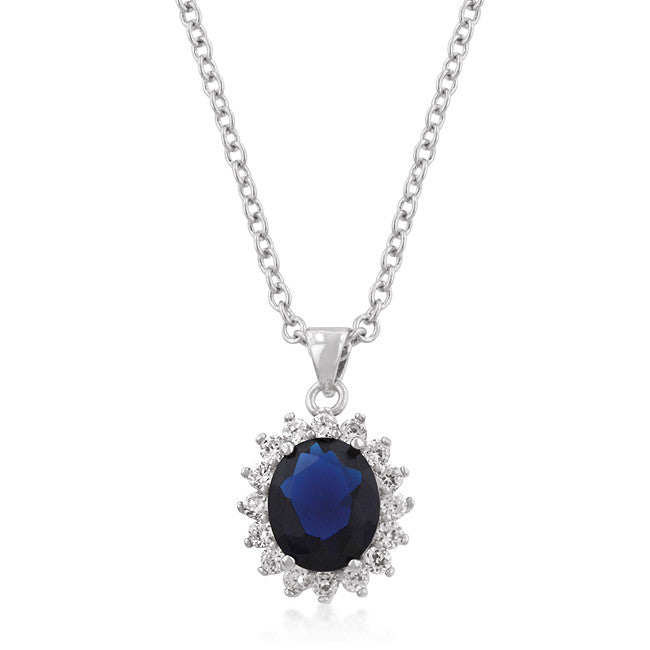 Antique Sapphire - Resplendent Sapphire Crystal And Round Cubic Zirconia Trimmed Pendant