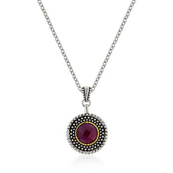 Milligrain Garnet CZ Pendant Chain Included