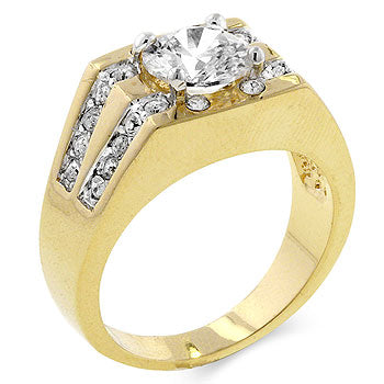 Diamond Barracuda - 14K Gold Solitaire CZ Ring