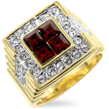 Rubik - True Blood Red CZ on White Gold Ring