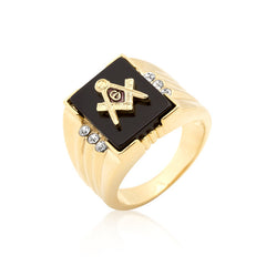 Gold Bonded Men's Masonic Ring