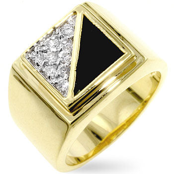 Diamond Gemini - Black Enamel and CZ 14K Gold Ring