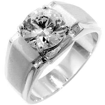 Diamond Beacon - Platinum Luster Solitaire CZ Ring