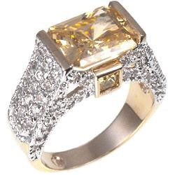 Emerald Cut Pave Ring