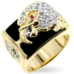 Soaring Falcon - Studded CZ With Onyx on 14K Gold Ring